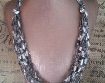 Yarn Necklace Hypoallergenic Crocheted with Ladder/Ribbon yarn in Taupe a creamy silver like shade