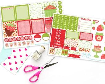 Horizontal Strawberry Fields Forever Summer Weekly Planner Sticker Kit for Erin Condren, Plum Planner, Inkwell Press or Filofax Planners