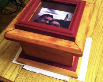 Handcrafted pine box.