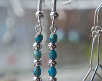 Sterling Silver Blue Turqouise Czech Glass Earrings