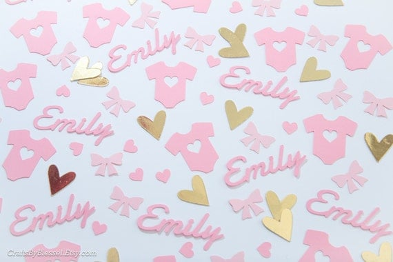 personalized baby girl shower confetti chic baby shower pastel pink