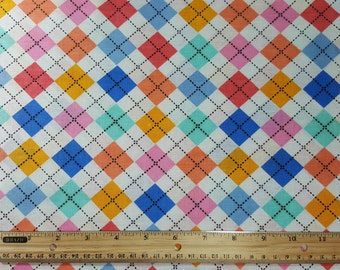 Pastel Argyle Fabric, by the yard or Fat Quarter, FQ, Plaid, Tartan, Argyll Print, Campbell Print, pink, blue, periwinkle, yellow