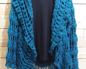 Crochet Circle Sweater Jacket in Teal - Lacey Cardigan
