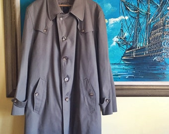 Vintage Christian Dior Monsieur Trench Coat | Gray | Wool Lined | 44R