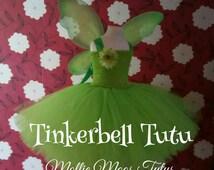 Tinkerbell Costume Tutu Fairy Costume Wings Peter Pan Dress Baby Girl Toddler Gift Birthday Halloween Green Silk Flower
