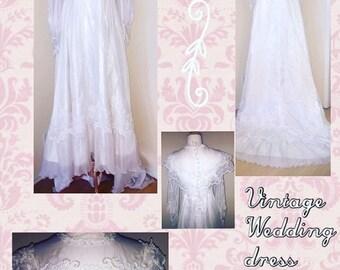 Vintage Victorian Styled Wedding Dress/ Embroidered Wedding Dress/ White Vintage /Wedding Dress/ Traditional Wedding Dress