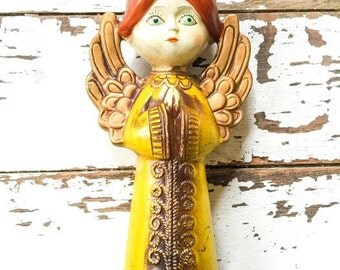 Vintage 1960's Angel Praying Christmas  Yellow YU0027