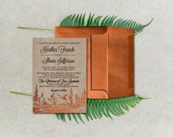 Woodsy Wedding Invitations/Copper Wedding Invitations/Fol Wedding Invitations