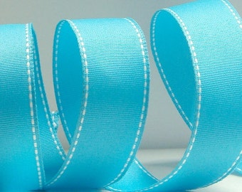 "1.5"" Wired Turquoise Ribbon with White Stitch ~ 5 Yards ~ Spring/Summer Ribbon"