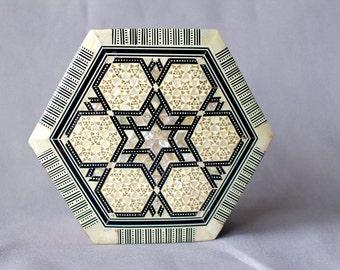 SALE - Vintage Egyptian Hexagonal Box