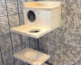 Large Kiln Dried Pine Chinchilla Wood House with Poop Guard, Balcony, Swing + Mounting Hardware
