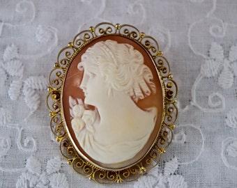 Antique Shell Cameo, Left facing Cameo, Victorian Cameo, Hand carved Cameo, filigree frame