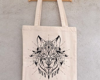 "Tote Bag ""Loup ethnic"" - shopping bag"