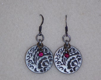 Silver Round Coin Earring