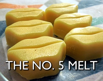 No. 5 Melts | 2-Pk | Pure Vegan Coco Chanel-Scented Cocoa Shea Butter/Coconut Oil Moisturizing Gold Shimmer Luxury Bath Melt