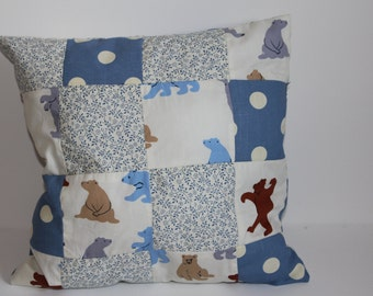 Blue and Beige   Patchwork Cushion