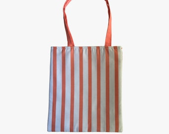 Coral Thick Vertical Stripe Reversible Tote Bag