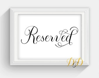Reserved Wedding Sign Wedding Sign Table Card Wedding reception decor Signage Printed Sign Wedding Decor Reserved Sign SC04