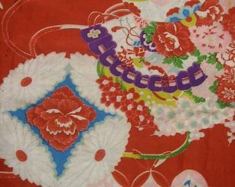 fan/flower/chrysanthemum/vintage Kimono silk fabric/red/white/colorful/2pc