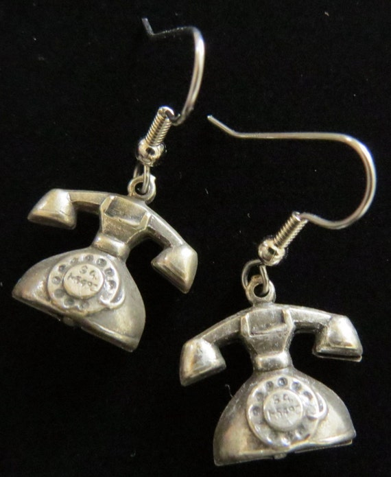 Vintage Style Hollywood Phone Earrings Antiqued Pewter
