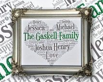 Framed Word Art, Personalised gift, Family Tree, Gift for Friend, Customised Sparkles, Crystal embellished, Silver, Shabby Chic,