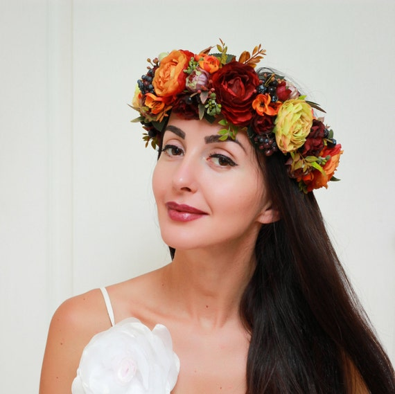 Fall Wedding Hairstyles With Flower Crown: Fall Flower Crown Autumn Wreath Fall Weddings Flower Halo