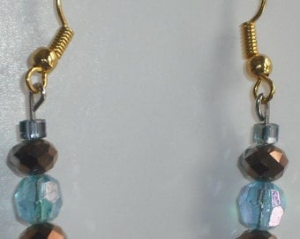 Light blue and bronze crystal earrings