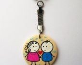 One Happy Couple Key Chain, valentine's day gift, wood key chain, unique key chains,charm, personalized gift, cute keychain