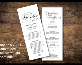 Wedding Program Template - Printable Wedding Program - Wedding Program - Instant Download - Ms word