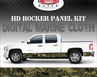 "Digital Marine Cloth Camo Rocker Panel Graphic Decal Wrap Truck SUV - 12"" x 24FT"