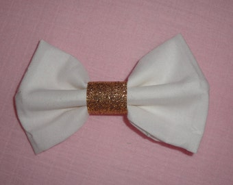 White and Gold Hair Bow