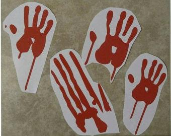 Set of 4 - BLOODY Zombie Handprints - The Walking Dead - Blood - Hands - Handprints - Vinyl Decal - Bumper Sticker