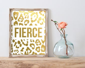 Fierce Leopard Print Gold Foil Print FREE US SHIPPING