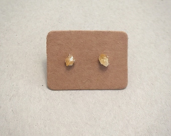 Tiny Citrine Studs Earrings, Rough, Raw Stone, Sterling Silver, 925