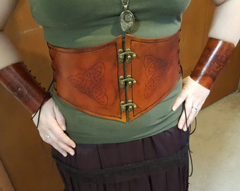 Leather Corset Waist Cincher with Burned in Celtic Knots and Brass Latches