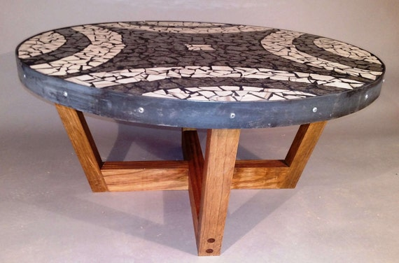 Black and White Mosaic Coffee Table on Mediterranean Aleppo