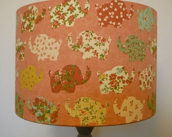 Floral Elephant drum lampshade pink/straw/turquoise fabric