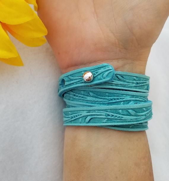 Floral Tooled Brown Black Leather Bracelet, Turquoise Leather Wrist Wrap, Floral Leather Wrap Bracelet, Aqua Leather Wrist Cuff,Leather Gift