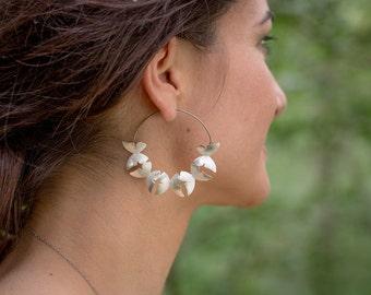 Butterfly hoop earrings, silver butterflies earrings, big butterflies earrings, dangle butterflies earrings, boho earrings