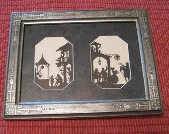 Double Silhouette picture, Unique Twin Picture Silhouette, Vintage Silhouette.