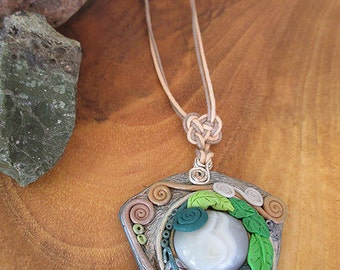 Spiral of life necklace, Agate grey