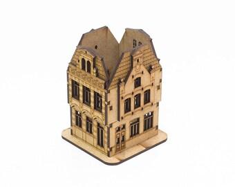 Unfinished custom desk organizer. Amsterdam miniature House-storage for crafts