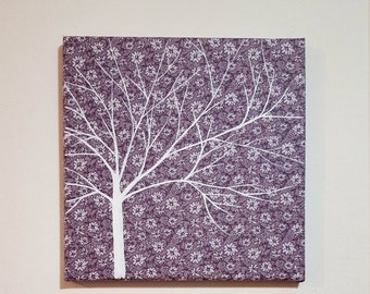 Purple and white hand painted tree