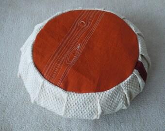 SALE - embroidered faux bois meditation cushion / zafu - embroidered - eco-friendly - cream, orange