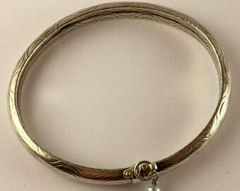 Vintage 1970's Sterling Silver and Tourmaline Charm Bangle Bracelet