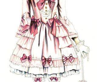 Pretty in Pink Lolita <3 Illustration Poster Print