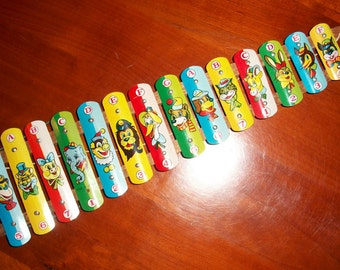 Mid Century Xylophone Children's Toy! Classic Toys, 1950's, Musical Instrument, Animals, Colorful, Tin Litho, Vintage Toy, 1950's Toy, Music