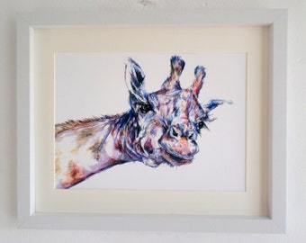 Giraffe illustration, giraffe drawing, inktense, giraffe gifts, African wildlife, safari nursery, quirky giraffe, giclee print