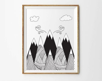 Mountains, 5 x 7 in, 8 x 10 in, Black and white print, Nursery art printable, Monochrome print, Scandinavian print, Instant Download