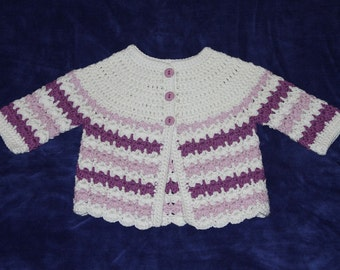 Crochet Baby Sweater, 6 Months,  Baby Sweater, 100% Soft Cotton, Crocheted